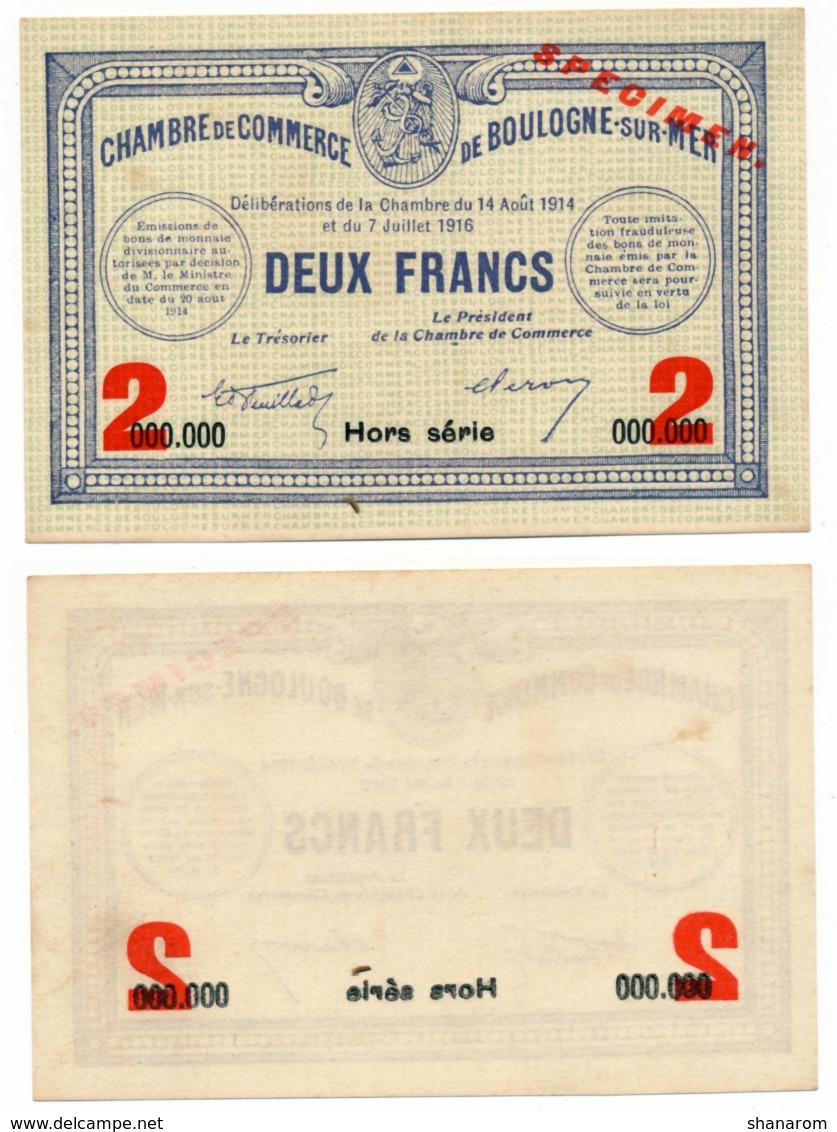 1914-1918 // C.D.C. // BOULOGNE-SUR-MER // SPECIMEN // 14/08/1914 & 7/07/1916 // 2 Francs //  Sans Filigrane - Chambre De Commerce