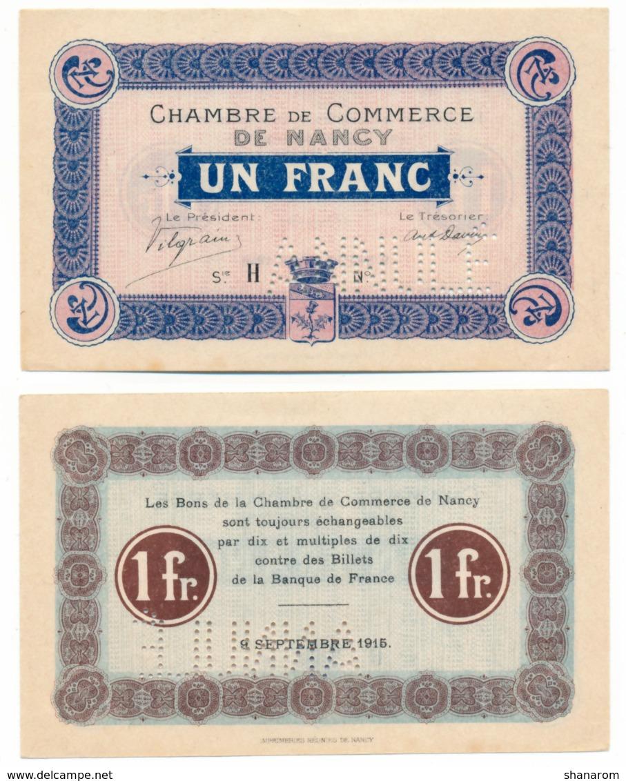 1914-1918 // C.D.C. // NANCY // ANNULE // 9 Septembre 1915 // 1 Franc //  Sans Filigrane - Chambre De Commerce