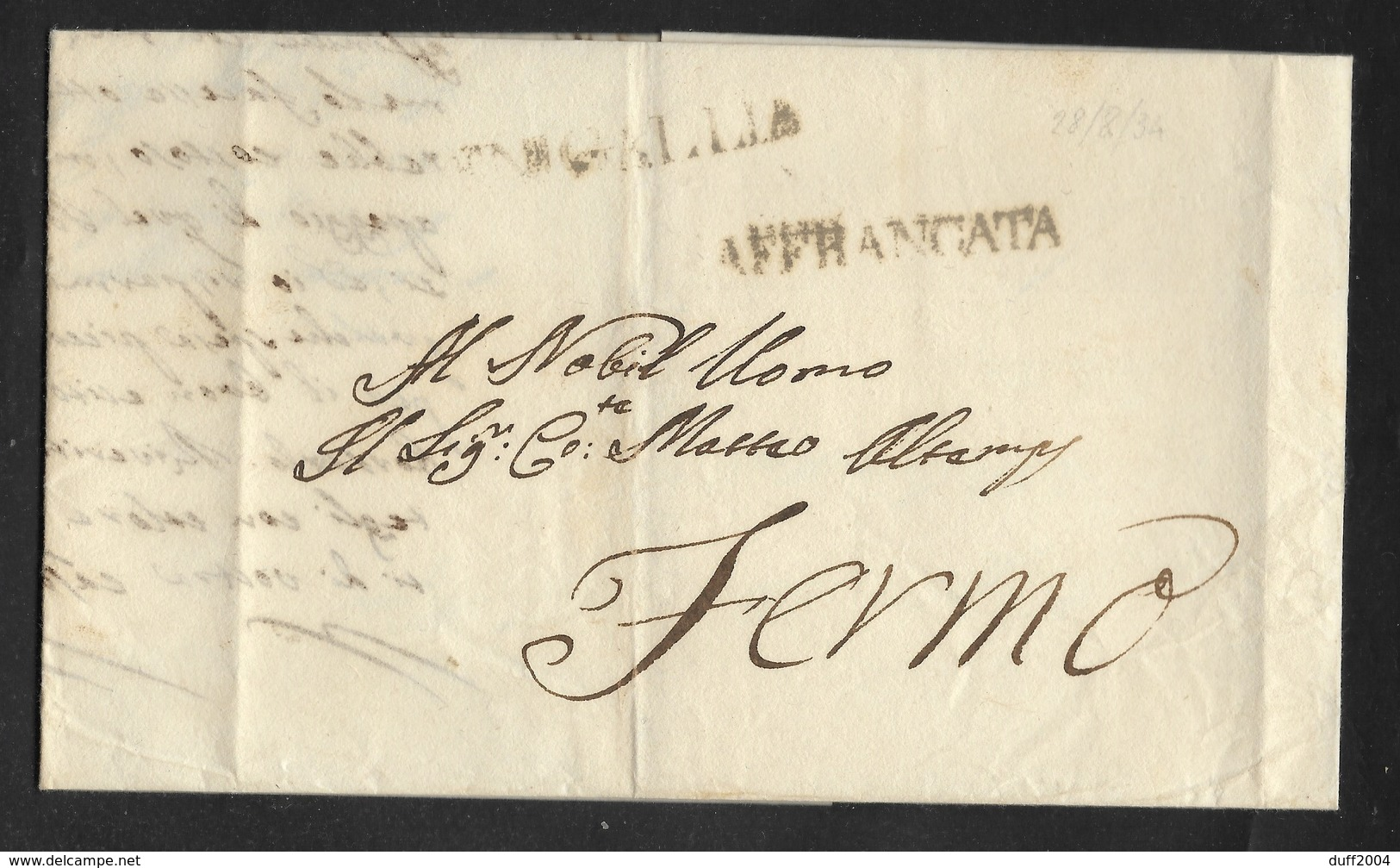 DA SENIGALLIA A FERMO - 23.8.1834 - AFFRANCATA. - 1. ...-1850 Prefilatelia
