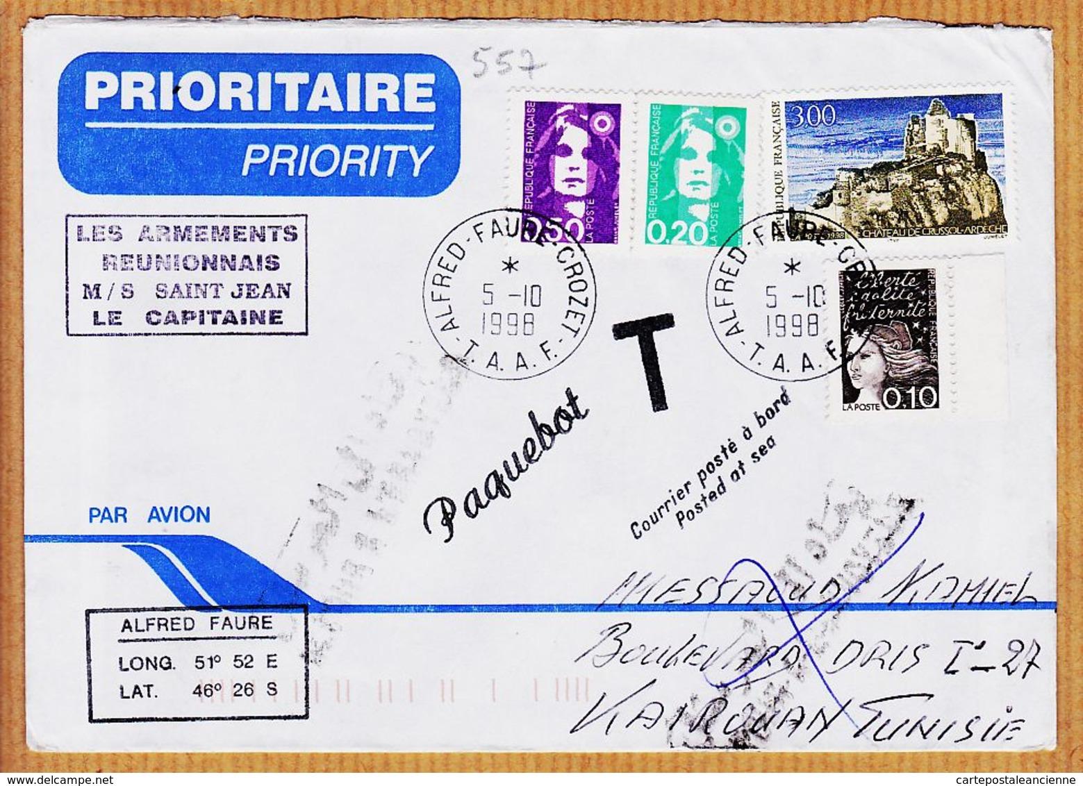 M045 TAAF NON DISTRIBUE Armements Reunionnais M/S SAINT-JEAN Le Capitaine Posté En Mer 1998 ALFRRED-FAURE CROZET - Terres Australes Et Antarctiques Françaises (TAAF)