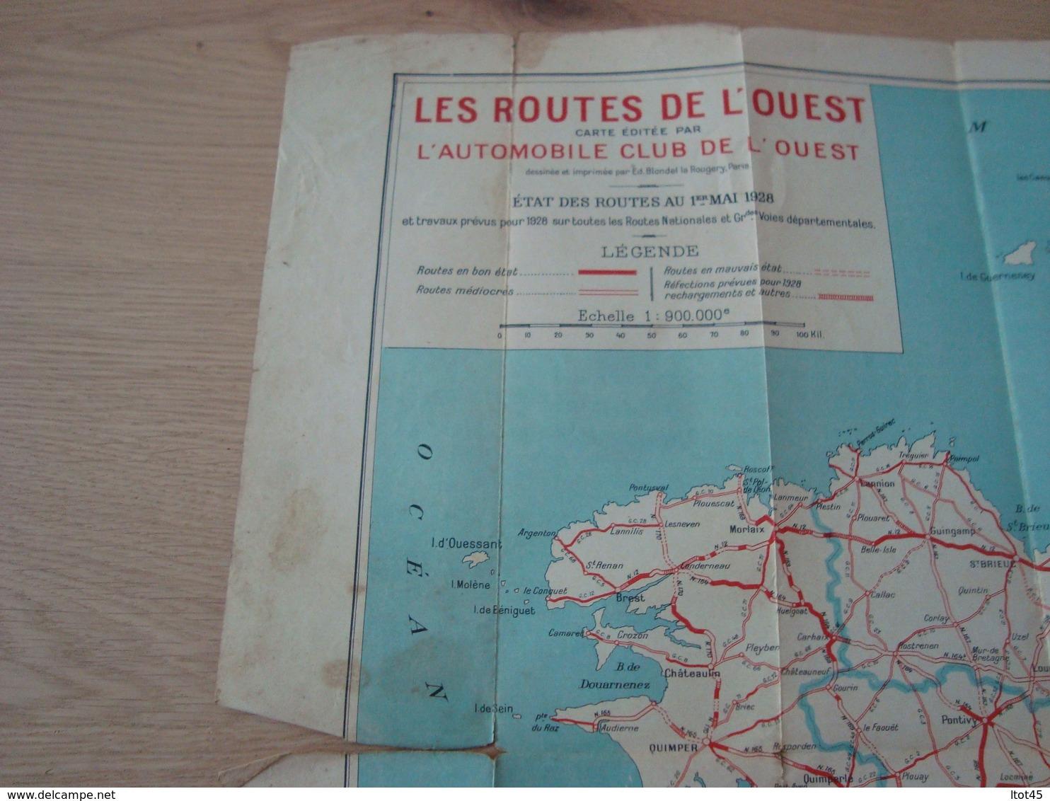 CARTE ROUTIERE DAS LES ROUTES DE L'OUEST AUTOMOBILE-CLUB 1 MAI 1928 - Cartes Routières