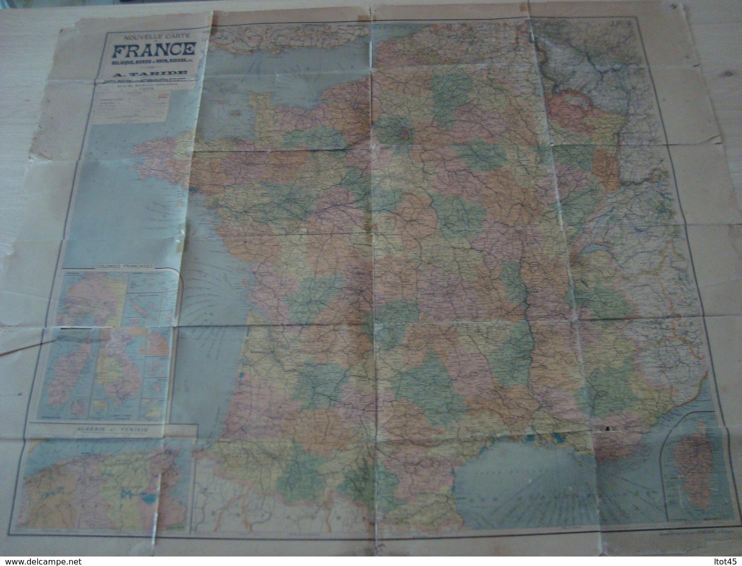 CARTE ROUTIERE TARIDE LA FRANCE ET LES COLONIES FRANCAISES ZONE D'OCCUPATION - Cartes Routières