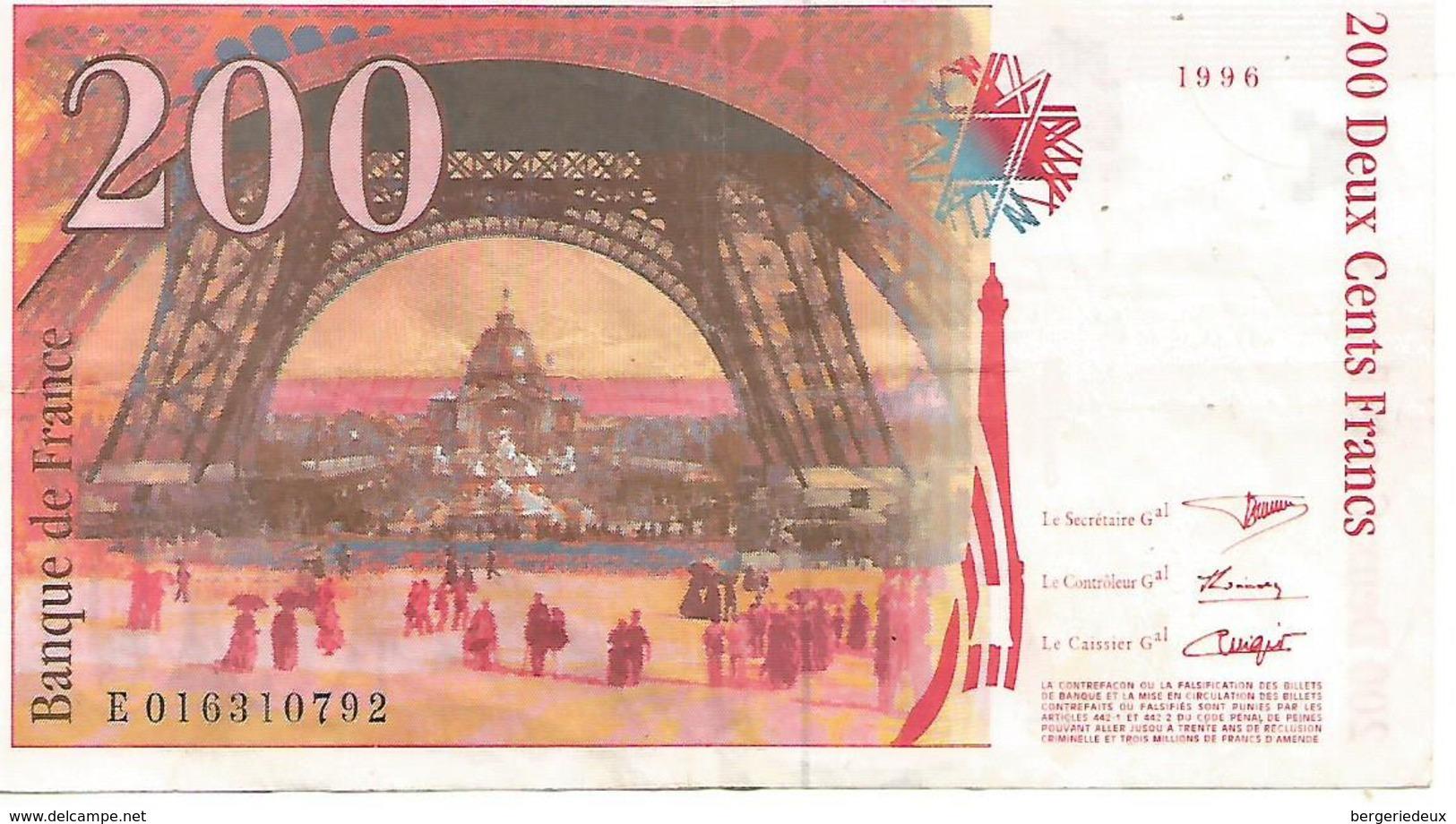 France   200f Eiffel  1996    Aucune Marque D'épingle - 1992-2000 Dernière Gamme