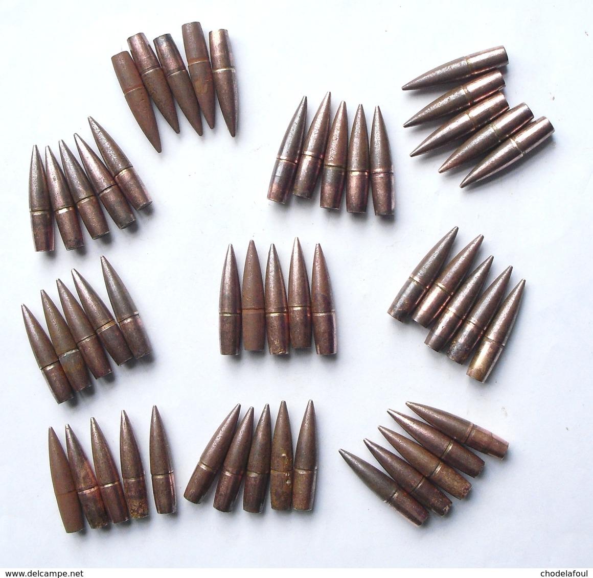 Lot 50 Ogives Françaises Lebel Cartouches Fusil  1914  1918 Ww1 Poilu - 1914-18