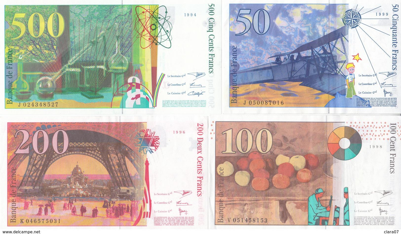 Lot De 4 Billets Dernière Gamme St Exupéry - Cézanne - Eiffel - Curie BEL ÉTAT - 1992-2000 Dernière Gamme