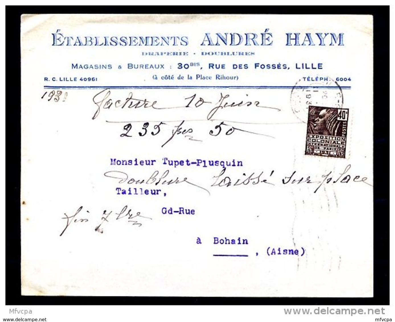 Ar2878 L 1931 Etablissement André Haym Lille Pour Bohain (Aisne)/ YvT 271 Expo Coloniale 40c - Lettres & Documents