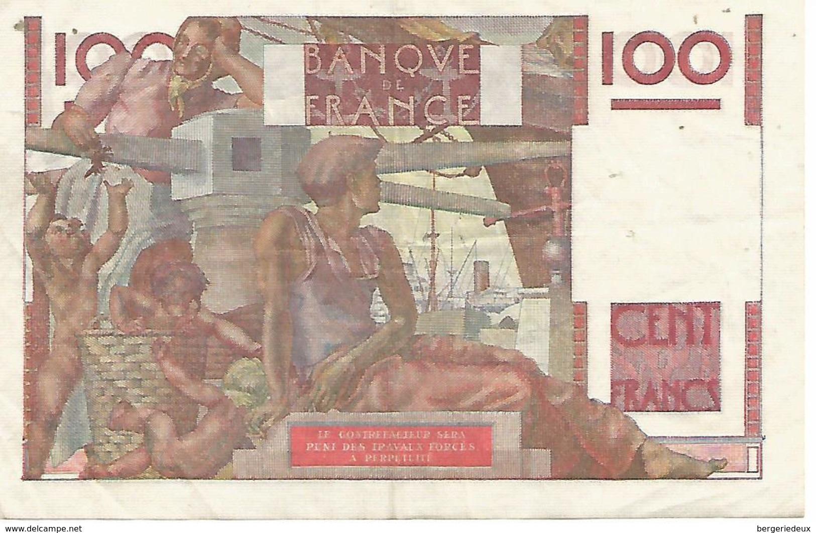 France    100 F    Jeune Paysan  29-4-1948 - 100 F 1945-1954 ''Jeune Paysan''