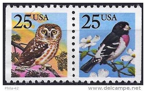 United States 1988 - Mi 1980Dr.1981Dl - YT 1813/14 ( Birds : Owl And Hawfinch ) - Etats-Unis
