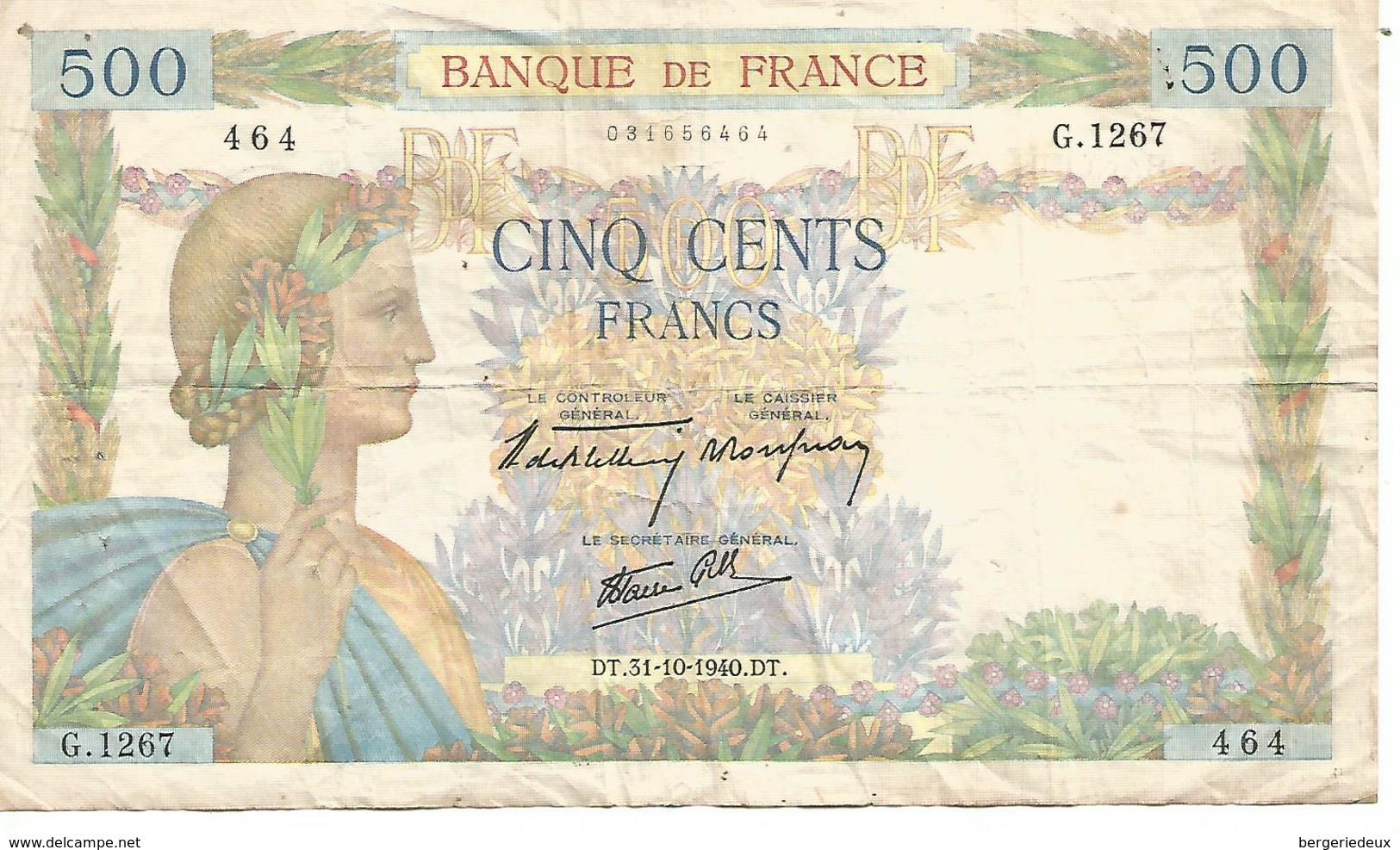 France    500 F   La Paix  Dt.31=10=1940.dt - 1871-1952 Anciens Francs Circulés Au XXème