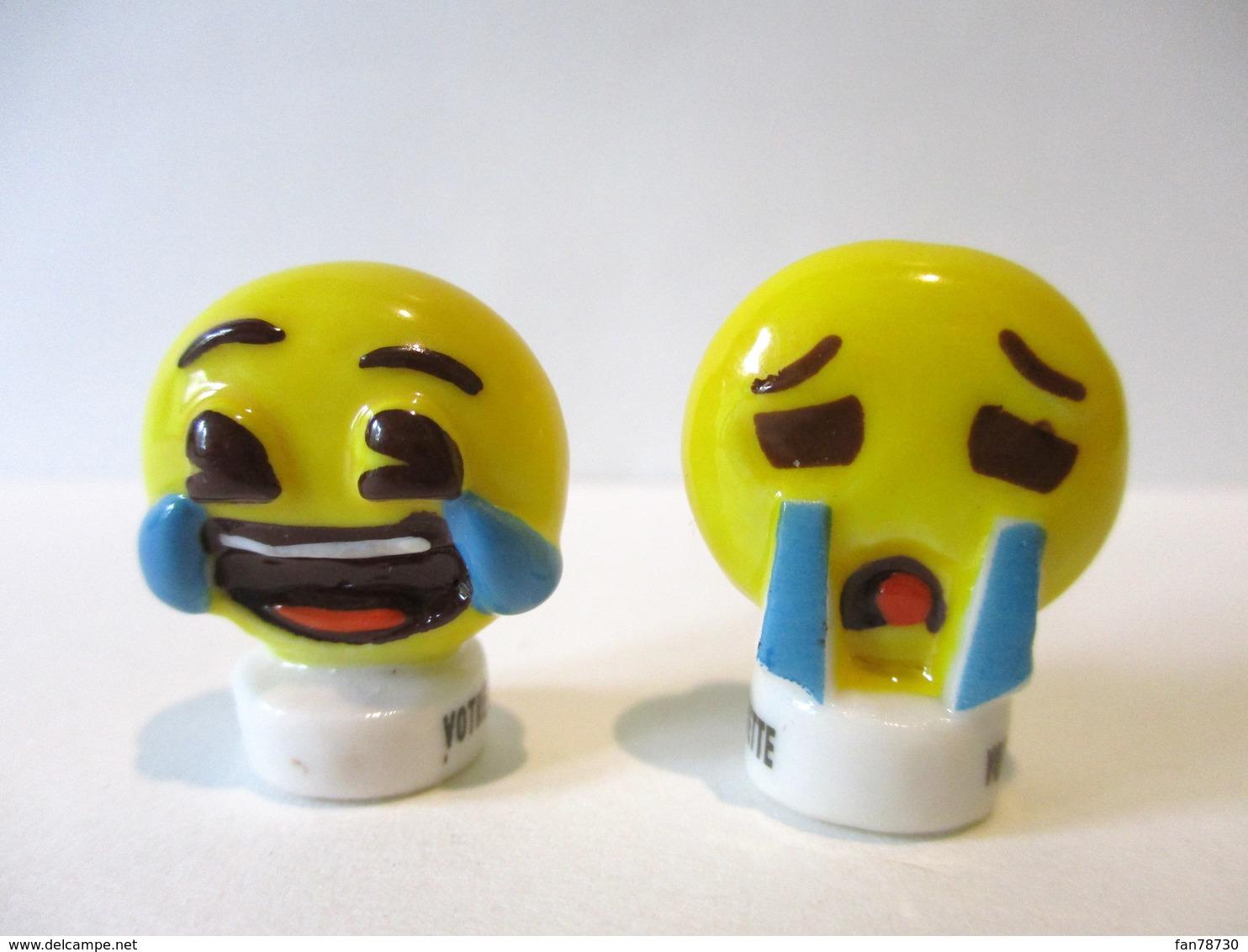 Fèves Brillantes  - Emoji Double Face, Rieur Et Chagrin - Votre Artisan Boulanger Et Banette - Personnages