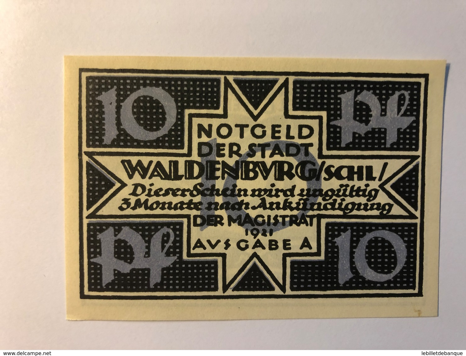 Allemagne Notgeld Waldenburg 10 Pfennig - [ 3] 1918-1933 : République De Weimar