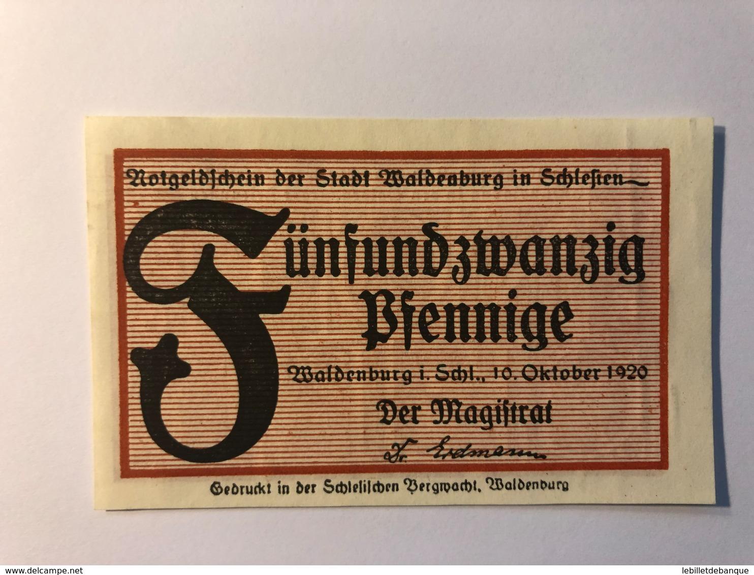 Allemagne Notgeld Waldenburg 25 Pfennig - Collections