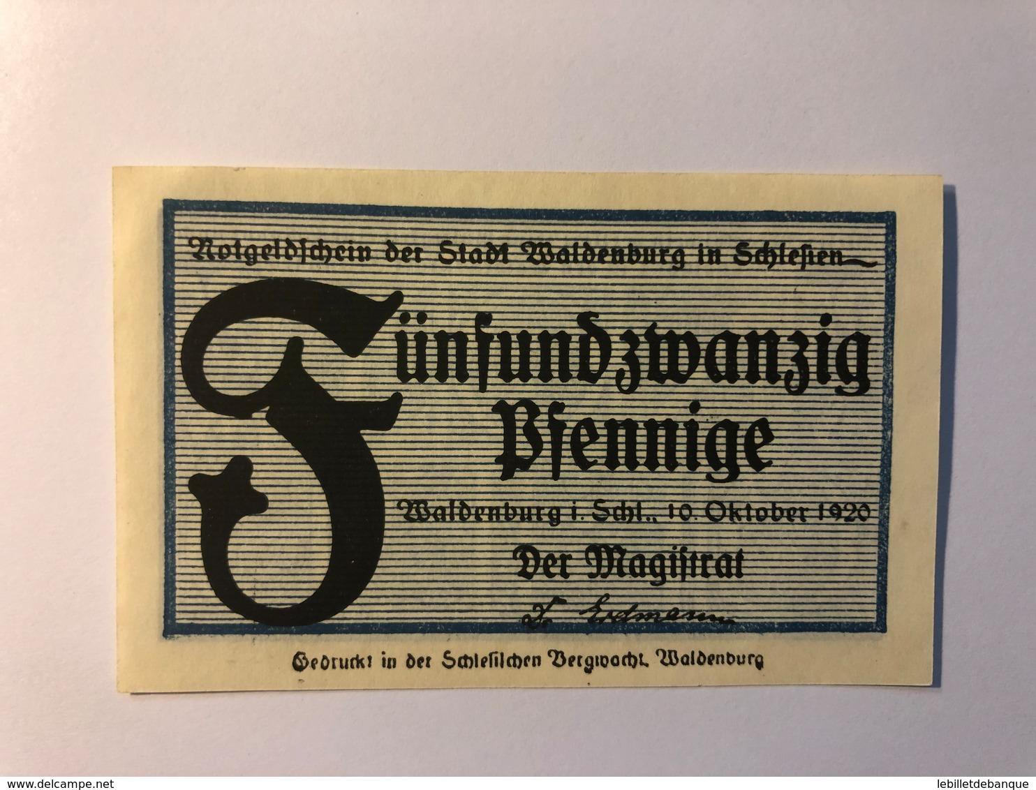 Allemagne Notgeld Waldenburg 25 Pfennig - [ 3] 1918-1933 : République De Weimar