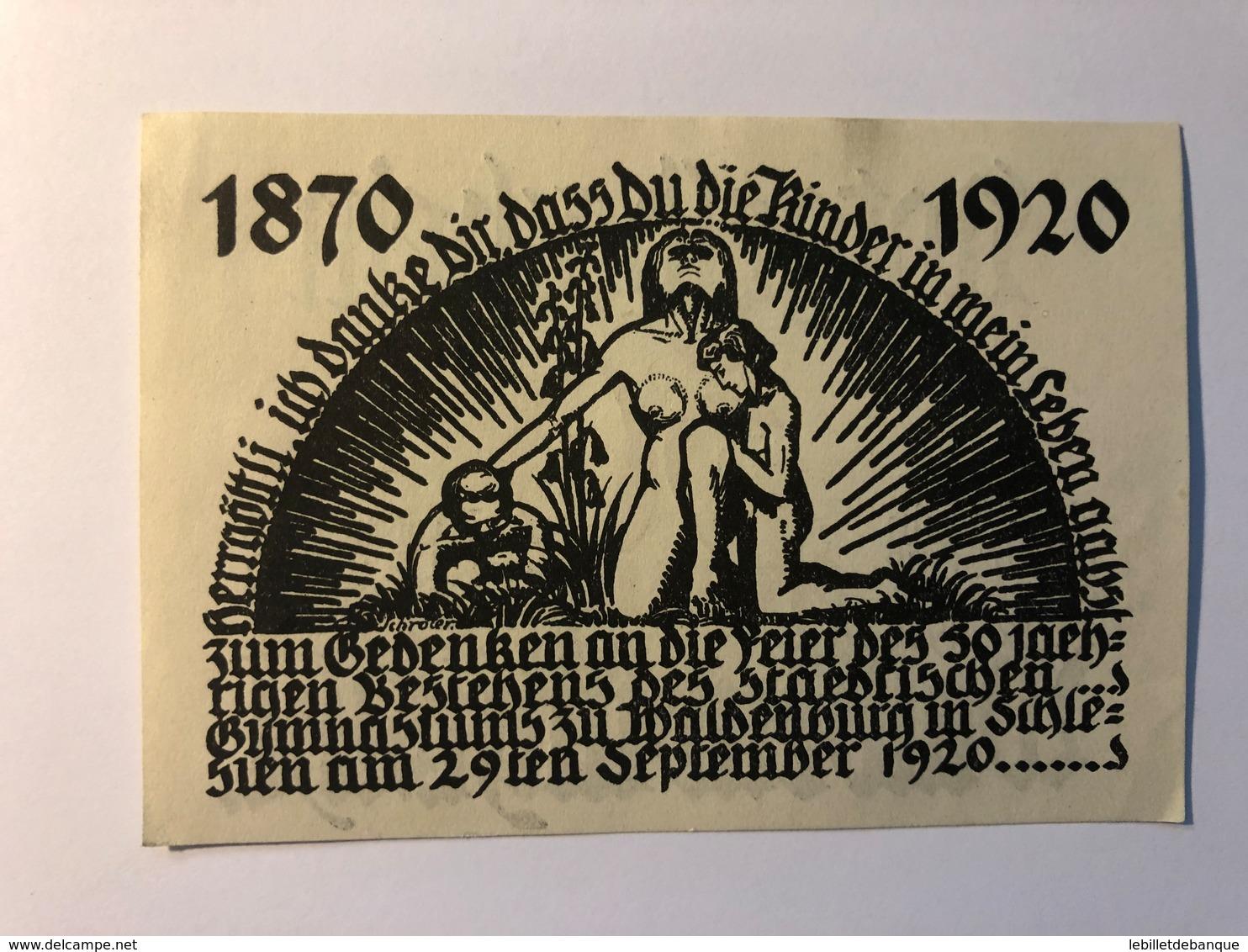 Allemagne Notgeld Waldenburg 50 Pfennig - [ 3] 1918-1933 : République De Weimar