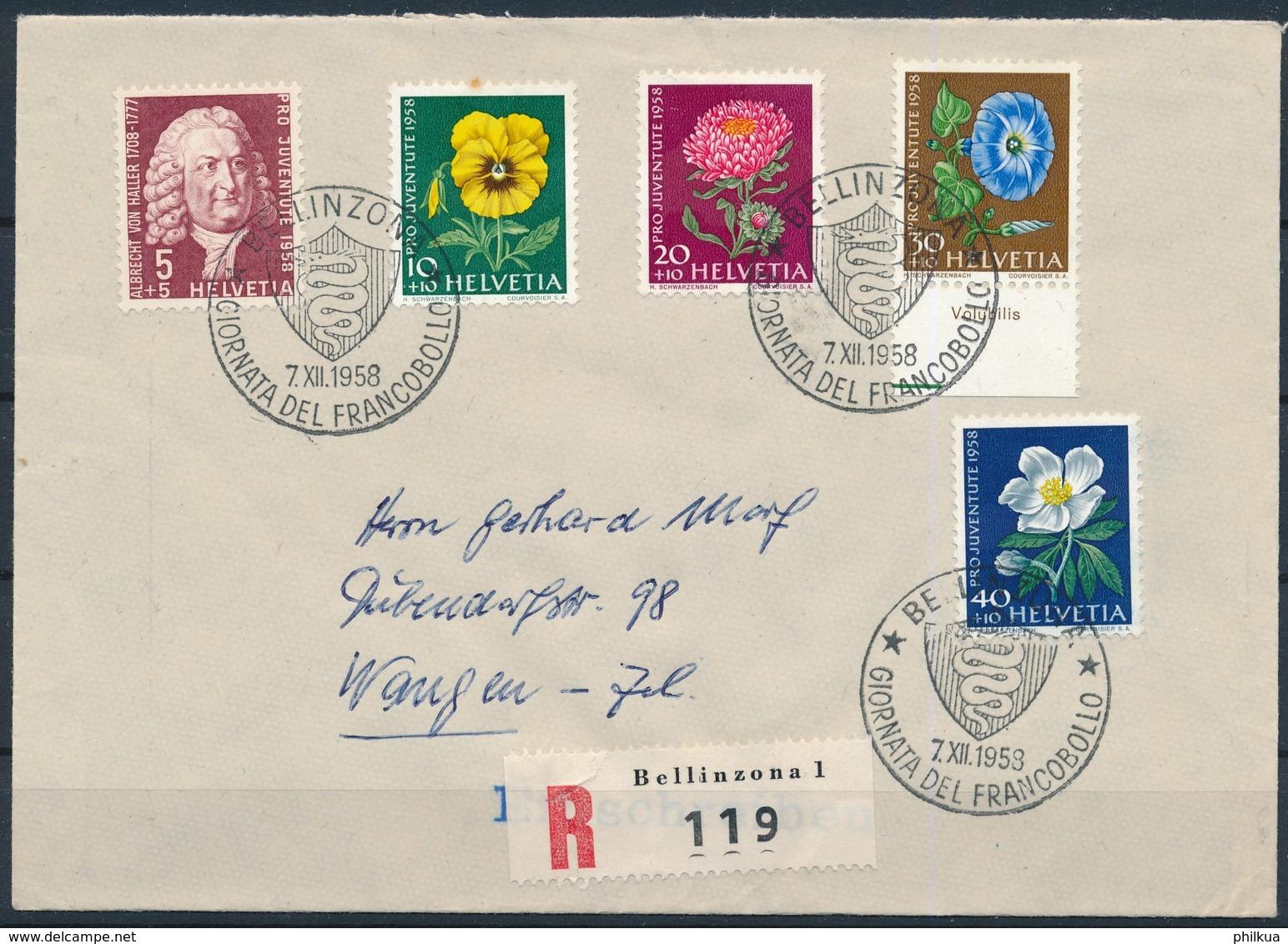 1958 TAG DER BRIEFMARKE Mit Pro Juventute Frankatur - BELLINZONA - Pro Juventute
