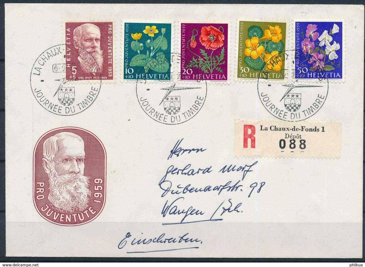 1959 JOURNÉE DU TIMBRE Mit Pro Juventute Frankatur - LA CHAUX DE FONDS - Lettres & Documents