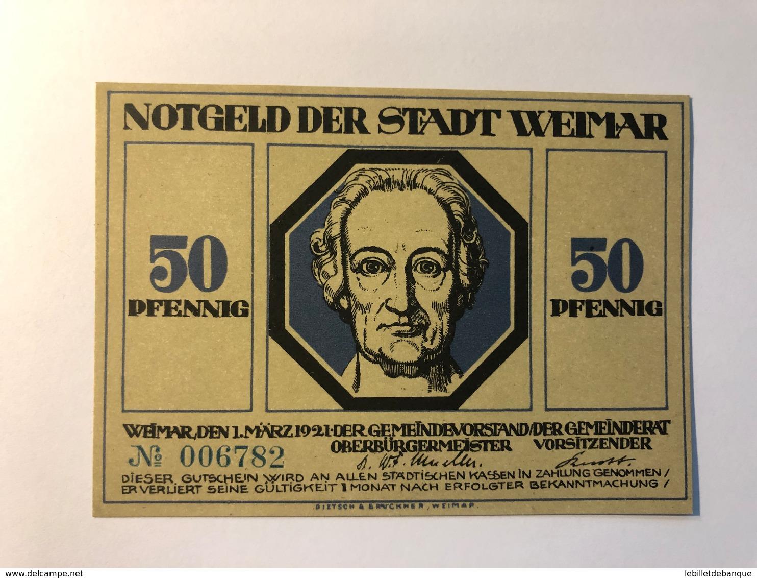 Allemagne Notgeld Weimar 50 Pfennig - [ 3] 1918-1933 : République De Weimar