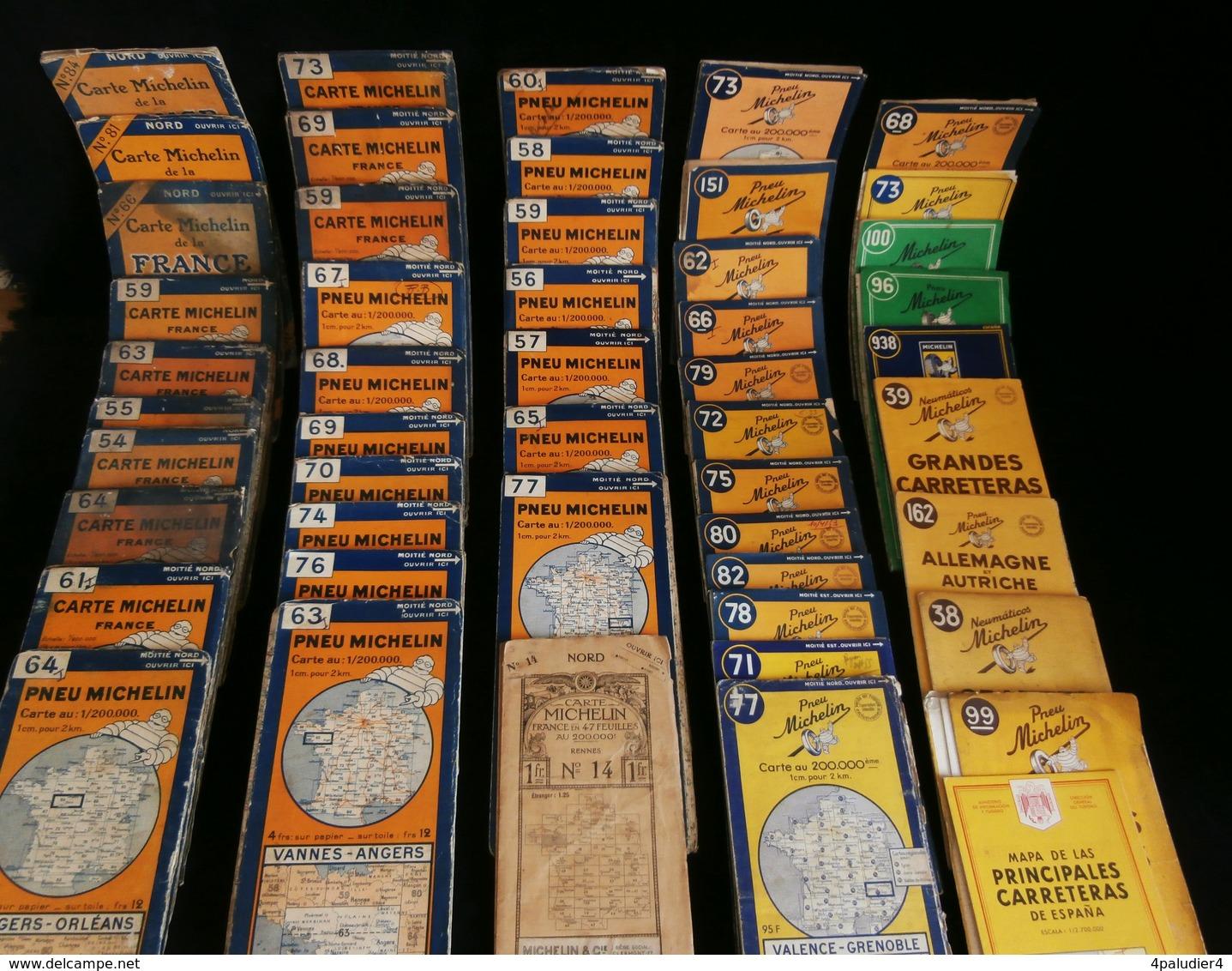 Lot 49 Cartes Routières MICHELIN De 1925 à 1960 + GUIDE ROUGE Clermont Ferrand - Cartes Routières
