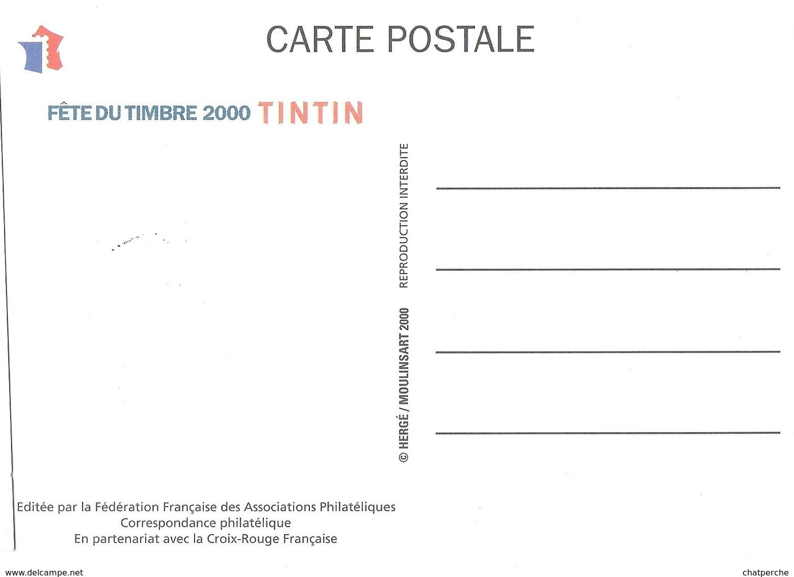 BD BANDE DESSINÉE  JOURNÉE DU TIMBRE 2000 TINTIN HERGE CARTE MAXIMUM - Bandes Dessinées