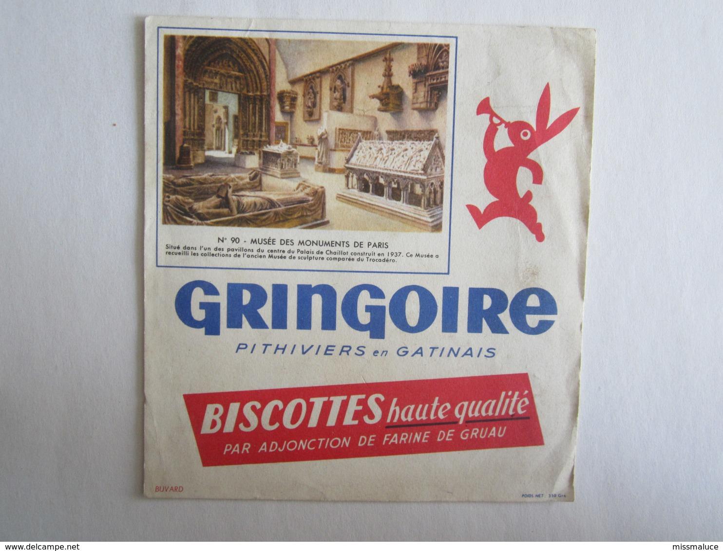Publicité Buvard Buvards Gringoire Musée Paris Pithiviers En Gatinais Biscottes - Biscottes