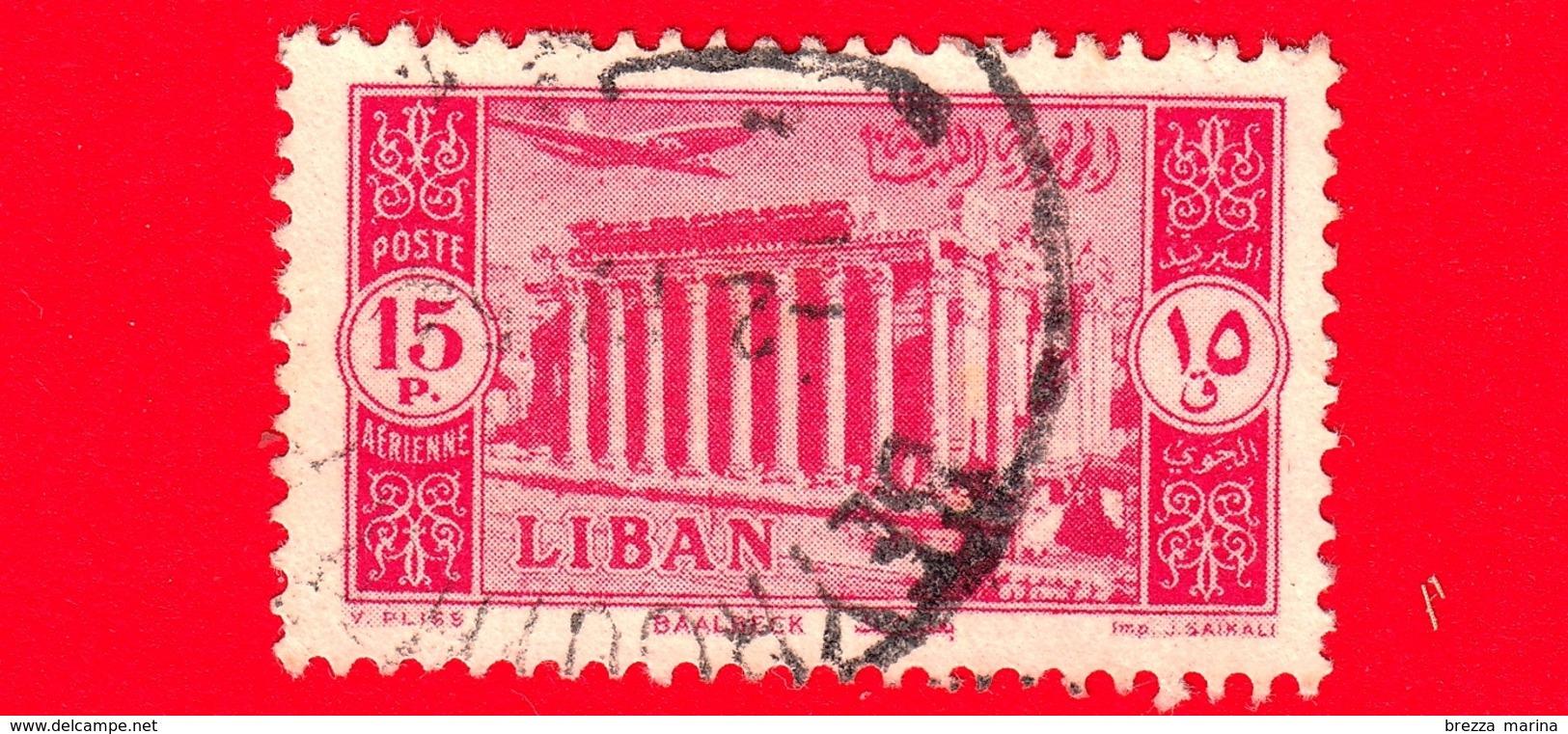LIBANO - Usato - 1954 - Paesaggi - Rovine Di Baalbek - 15 P. Aerea - Libano