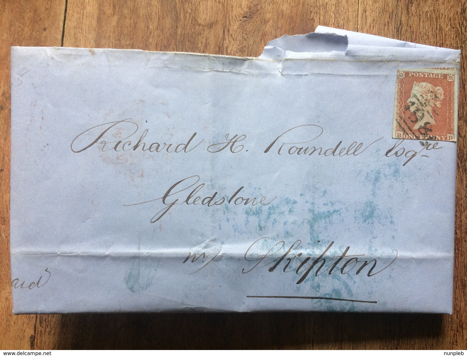 GB Victoria 1853 Entire Manchester To Skipton With Additional Leeds Postmark Tied With 1d Red Imperf - Covers & Documents