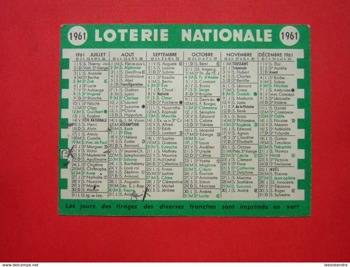 CALENDRIER PETIT FORMAT 10.5 X 8 CM 1961  LOTERIE NATIONALE - Calendriers