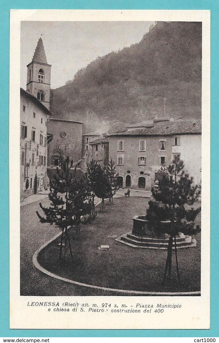 LEONESSA RIETI PIAZZA MUNICIPIO E CHIESA DI S. PIETRO NON VG. - Rieti