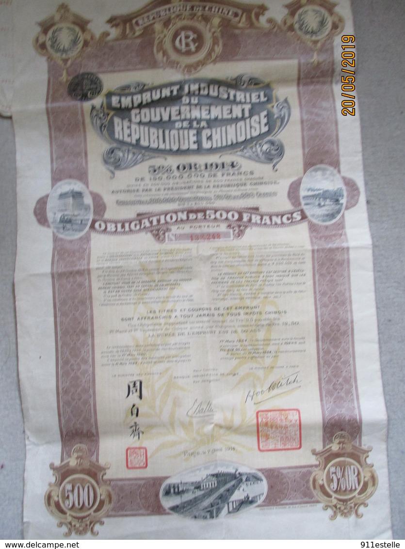 Action - Emprunt Industriel Du Gouvernement De La République Chinoise - PARIS, 1914 - Asie