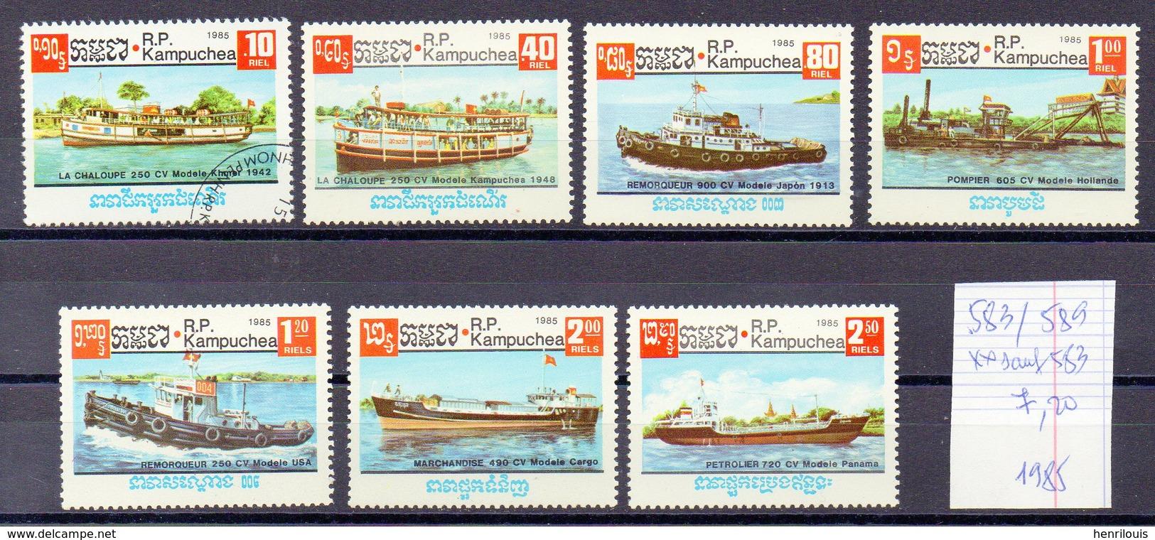 KAMPUCHEA  Timbres Neufs **/ Obt  De 1985   ( Ref 6451 )  Bateaux - Voir Descriptif - Kampuchea