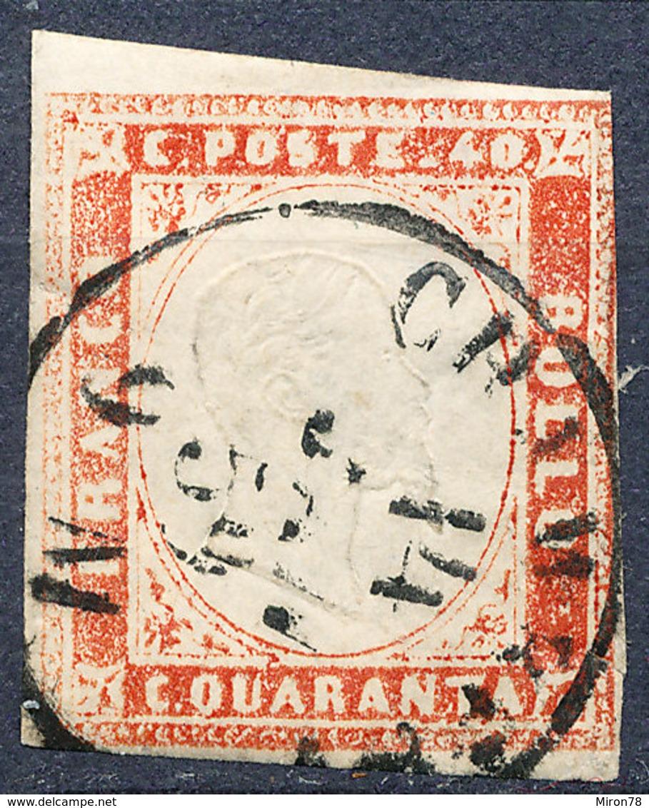 Stamp ITALY STATES SARDINIA  1855-1863 Used - Sardinia