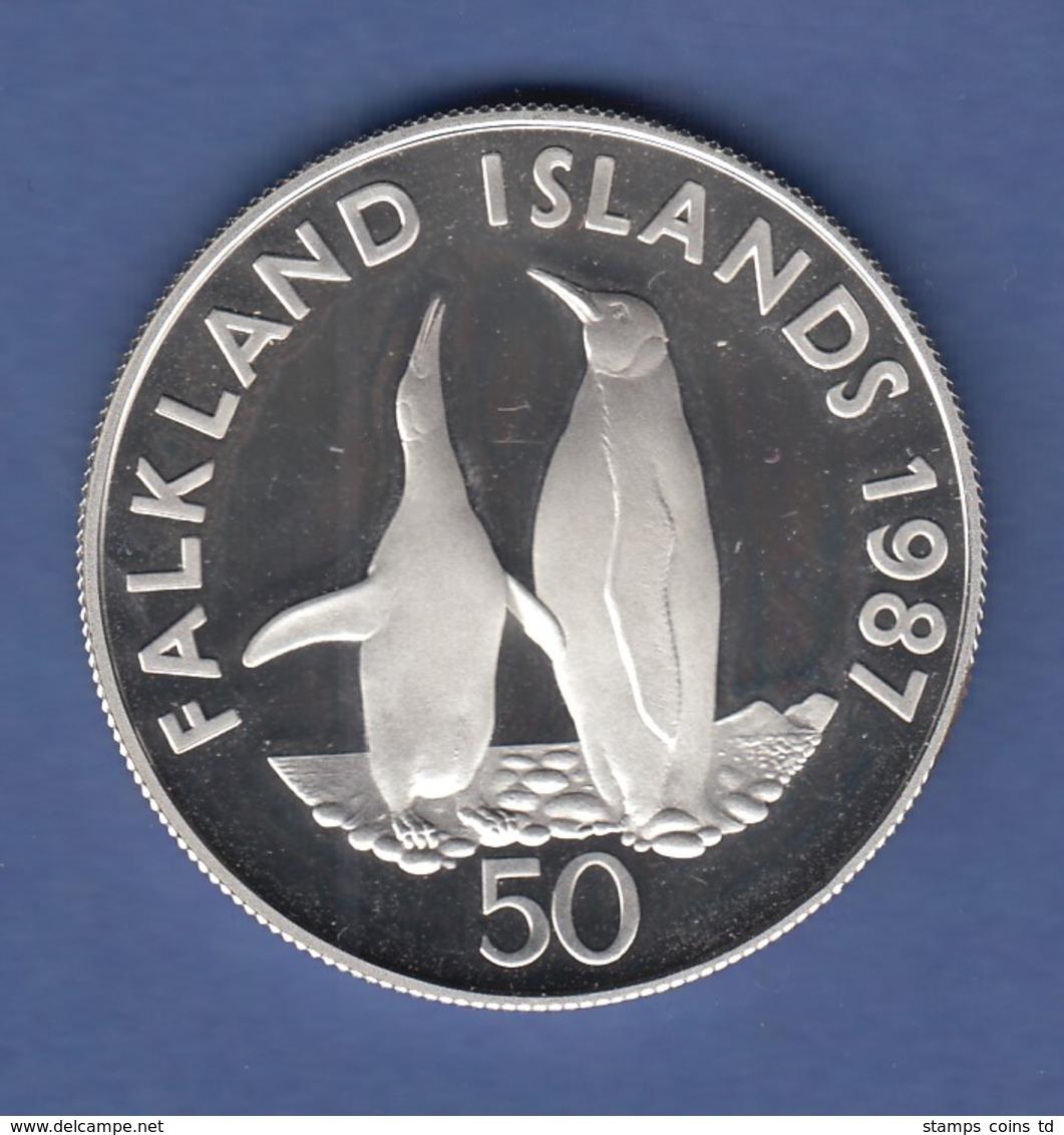 WWF Silber-Gedenkmünze Falkland-Inseln 1987, Pinguin 50 Pence, 28g Ag925, PP  - Non Classificati