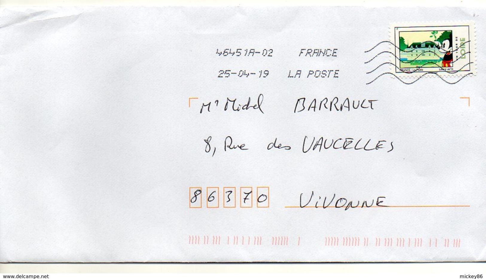 """2019--  Tp Adhésif """" Un Tour De Loire  """" -- Chateau  --Mickey     Seul  Sur Lettre ... - Marcophilie (Lettres)"""