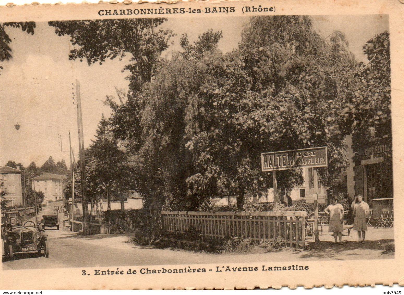 Charbonnières -  Les   Bains. -      Entrée  De  Charbonnières -   L' Avenue  Lamartine. - Charbonniere Les Bains