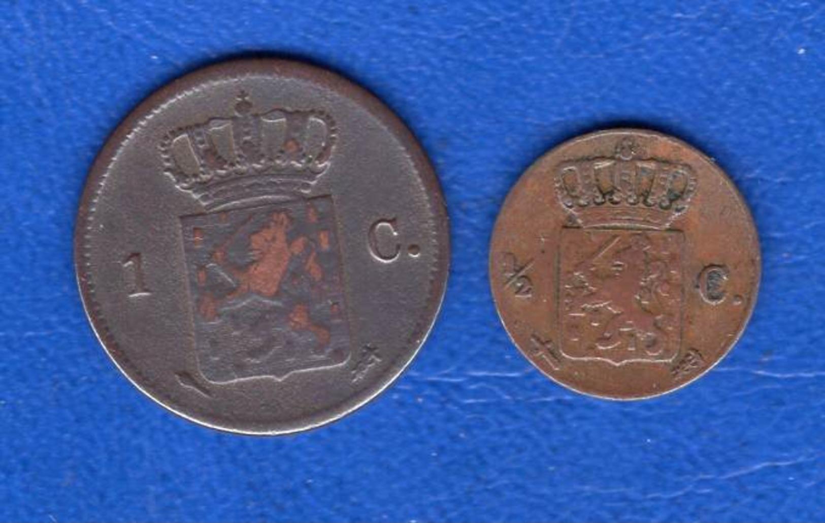 Pays  Bas  1/2  Cent  1861  + Cent  1828 - [ 3] 1815-… : Royaume Des Pays-Bas