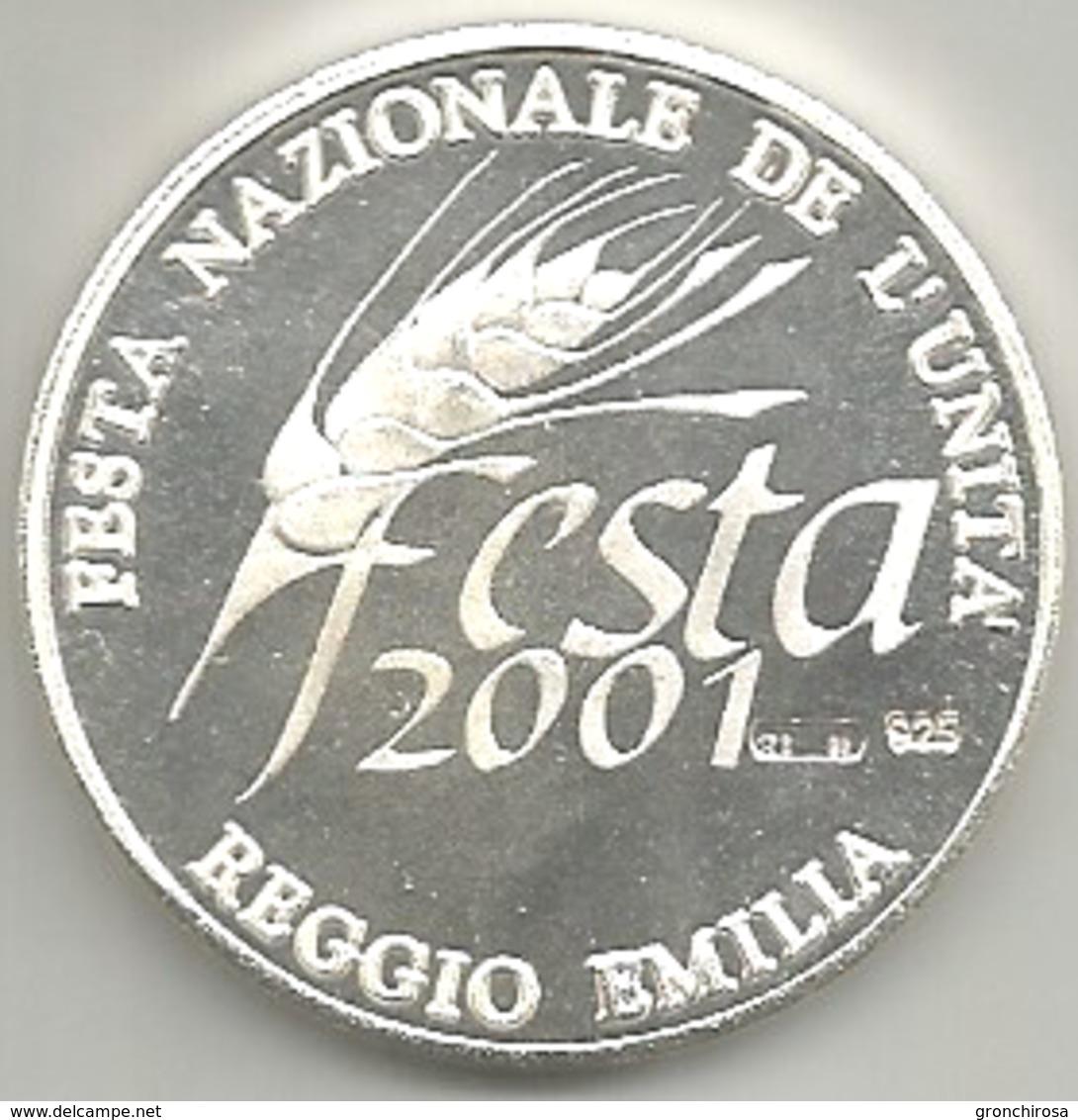 Reggio Emilia 2001 Festa Nazionale Dell'Unità, Altiero Spinelli, Ag.925 FS Gr. 21, Cm. 3,4. - Altri
