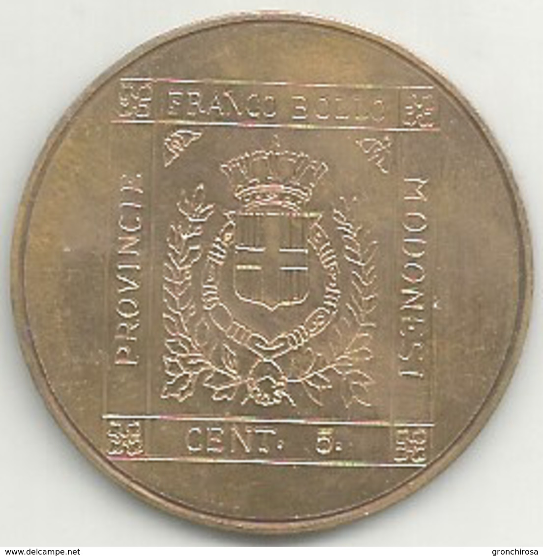 Vignola 1950 - 1980 Trentennale Gruppo Filatelico, Francobollo Provincie Modenesi, Cu., Gr. 12, Cm. 3,3. - Italia