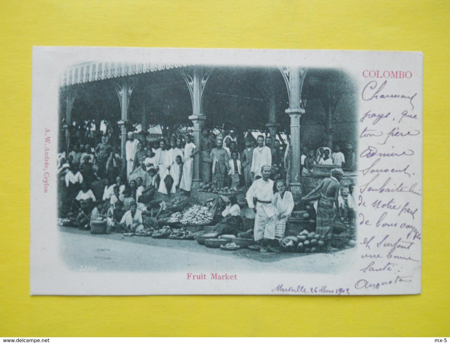 Ceylon ,Colombo ,fruit Market ,cachet Paquebot 1902 - Sri Lanka (Ceylon)