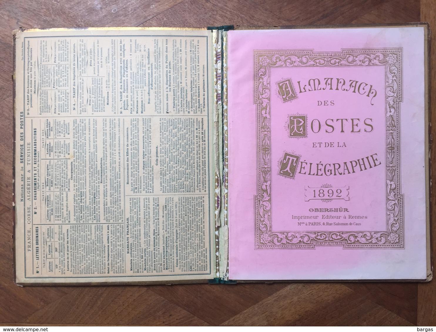 Calendrier Farde ALMANACH DES POSTE ET TELEGRAPHES 1892 - Calendari