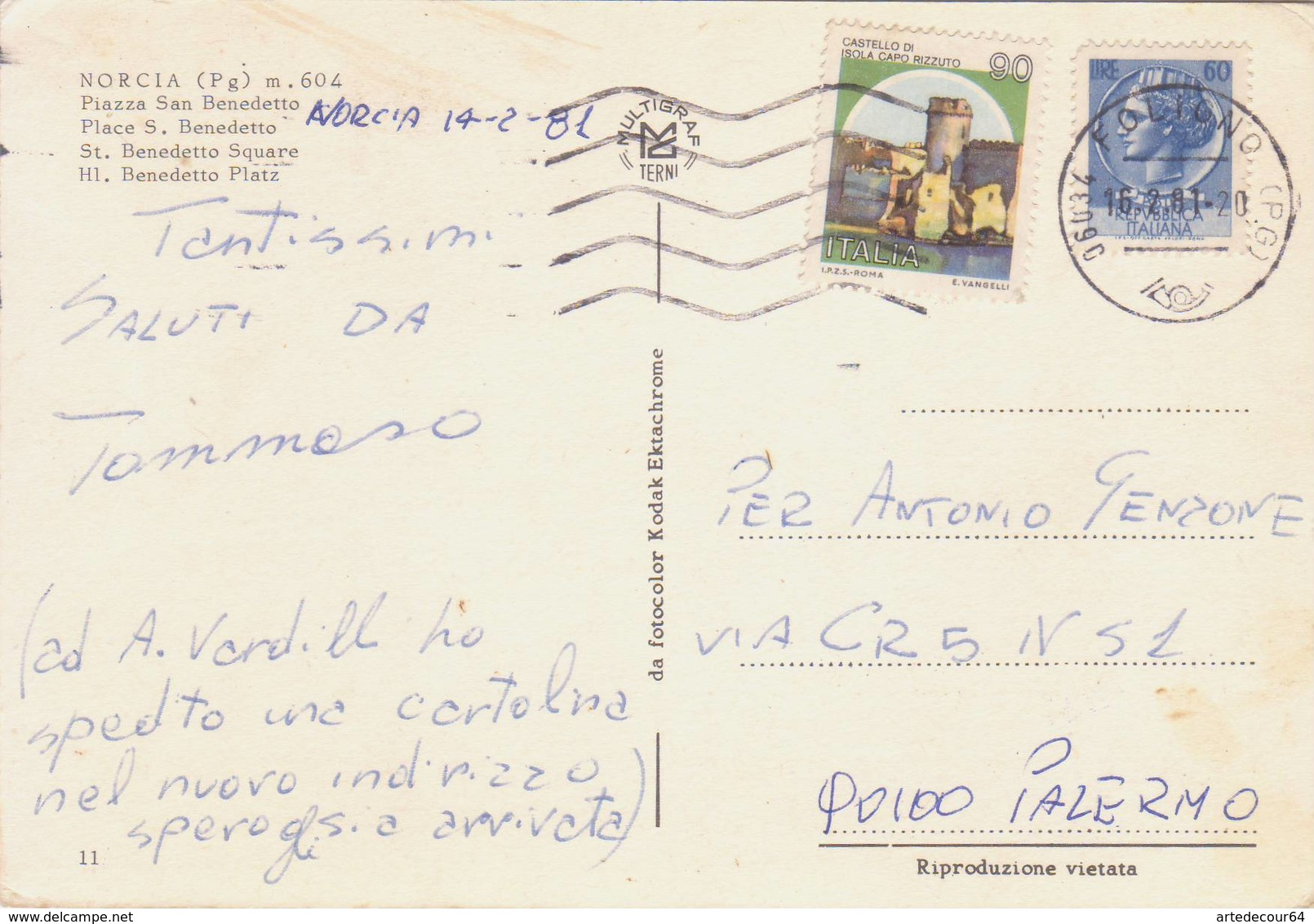 Norcia ( Perugia ) - Piazza San Benedetto - Viaggiata - Perugia