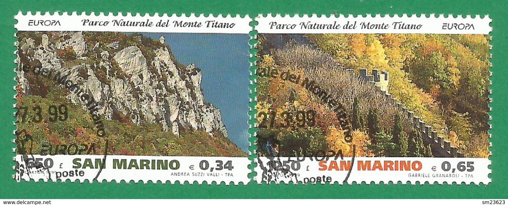 San Marino 1999  Mi.Nr. 1832 / 1833 , EUROPA CEPT  Natur- Und Nationalparks -  Gestempelt / Used / (o) - 1999