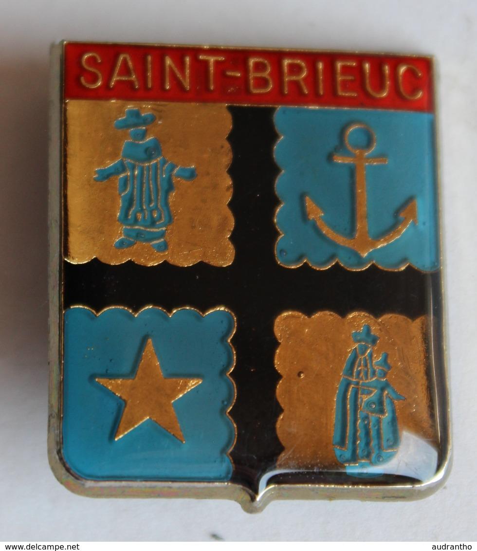 Ancienne Broche Insigne Saint Brieuc Blason Armoirie Ancre Marine Vierge Decat Paris - Obj. 'Souvenir De'