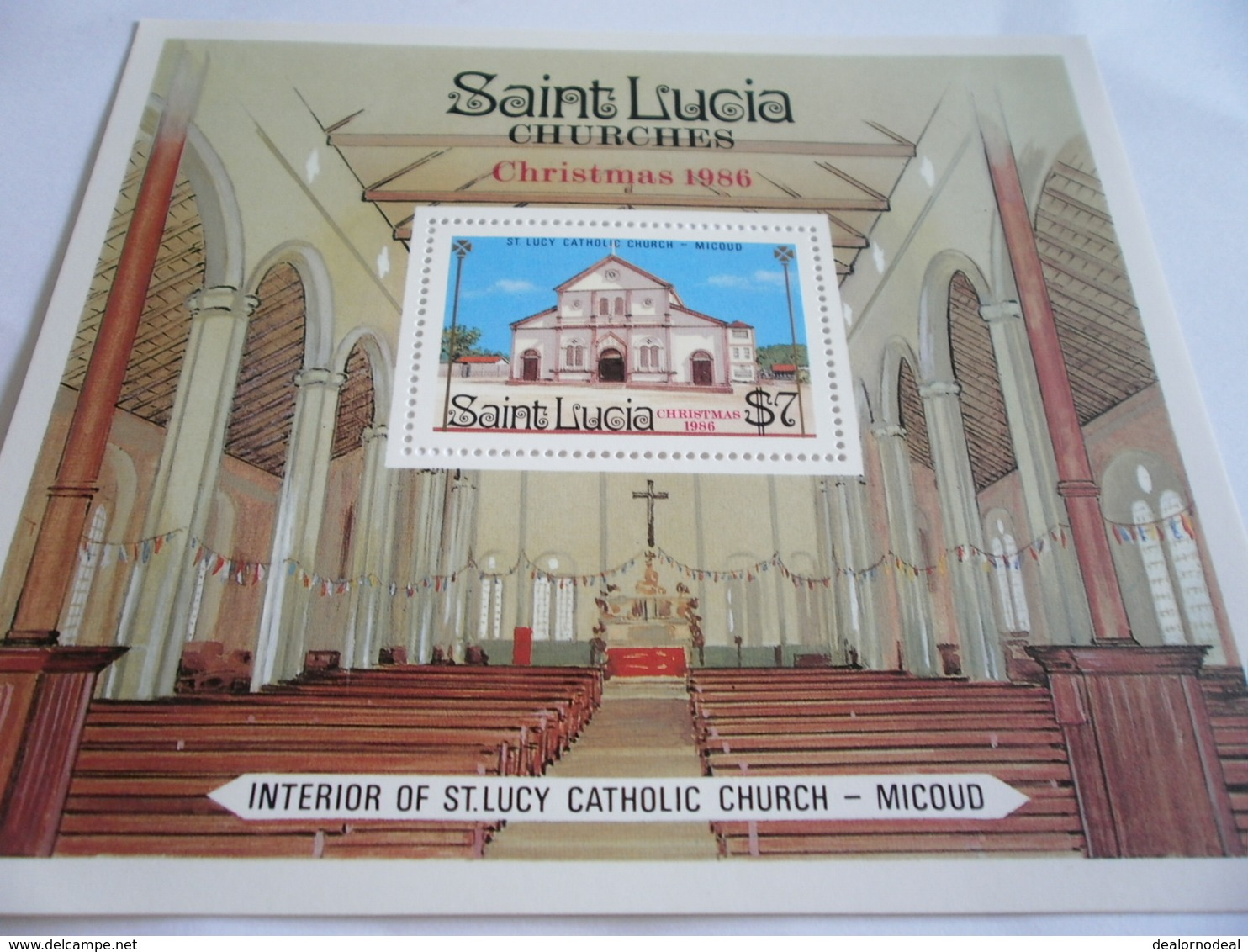 Miniature Sheet Perf Christmas 1986 St Lucy Catholic Church - St.Lucia (1979-...)