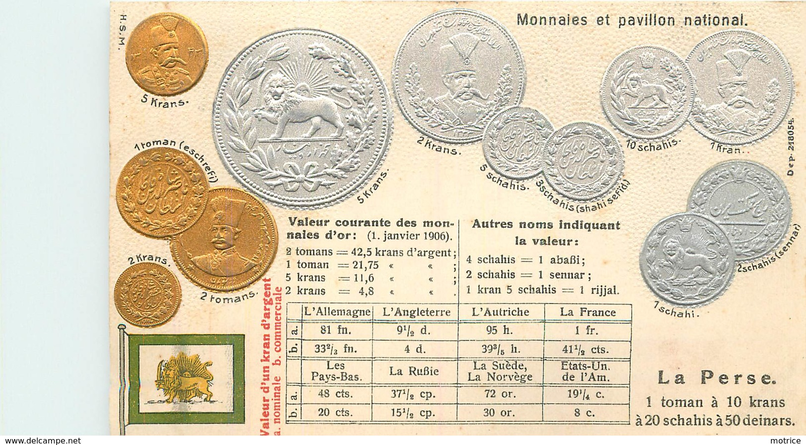 REPRÉSENTATION DES MONNAIES - La Perse (iran), Carte Illustrée Gaufrée - Monnaies (représentations)