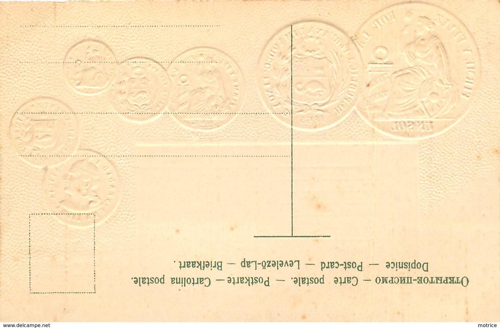 REPRÉSENTATION DES MONNAIES - Le Pérou Carte Illustrée Gaufrée - Peru