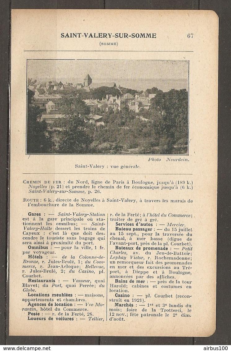 1923 SAINT VALERY SUR SOMME CHEMIN DE FER DU NORD LIGNE DE PARIS A BOULOGNE - HOTELS CASINO GARES OMNIBUS BAINS - Chemin De Fer