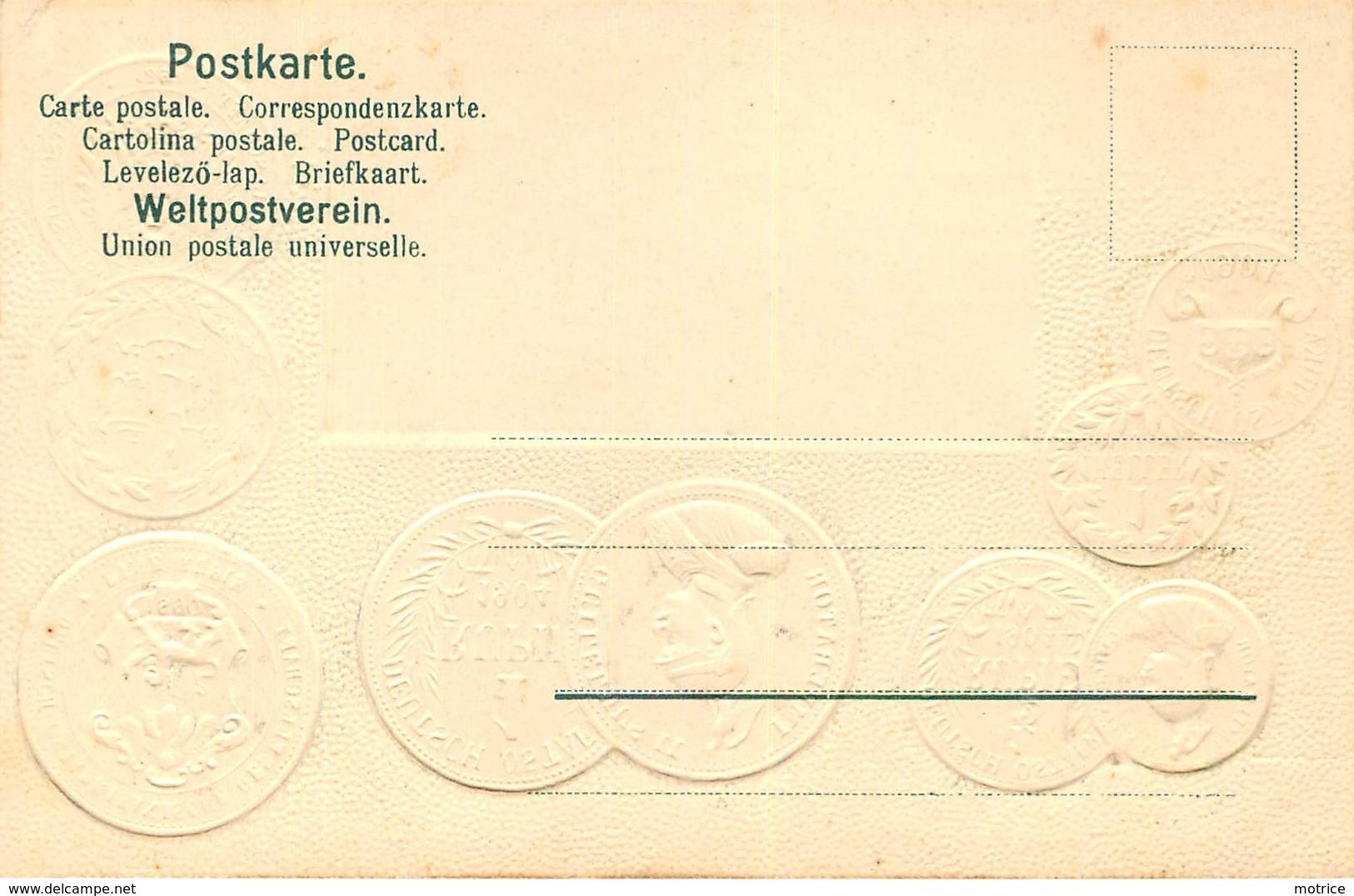 REPRÉSENTATION DES MONNAIES - Colonie Allemande,Afrique De L'Est, Carte Illustrée Gaufrée - Monnaies (représentations)