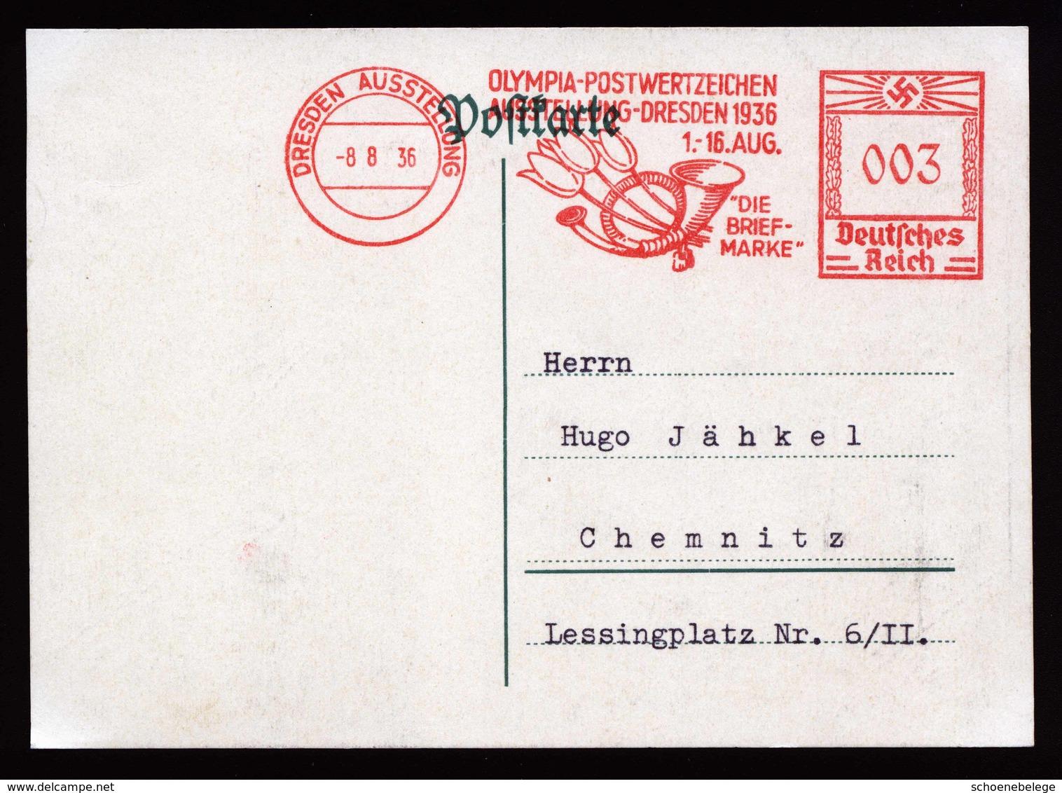 A6197) DR Karte Dresden Mit Seltenem AFS Ausstellung 08.08.36 - Deutschland