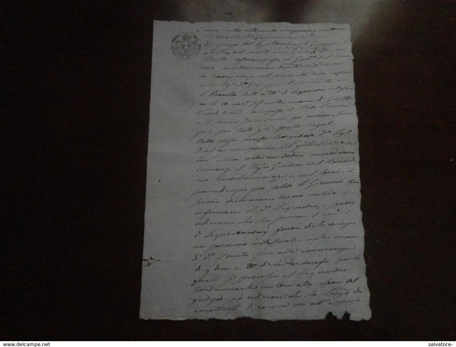 CARTA BOLLATA REGNO DELLE DUE SICILIE 3 GRANE- 1854 - Sicilia