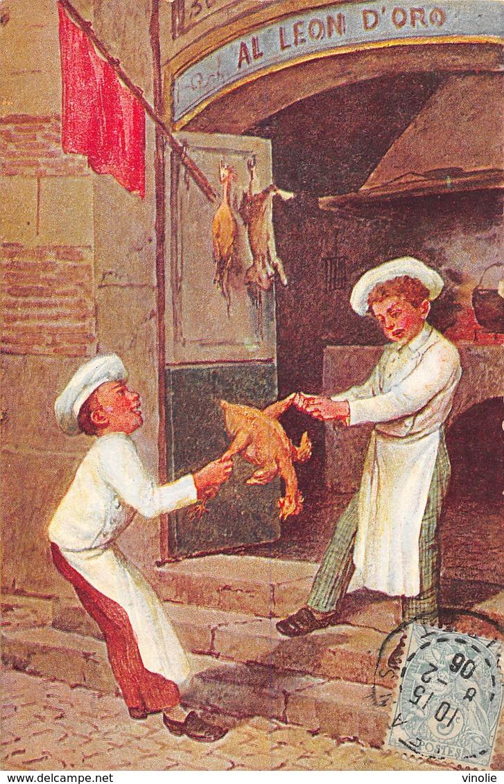 PIE.LOT CH-19-4776 : LA BAGARRE POUR LE POULET. GASTRONOMIE. CARTE ILLUSTREE. LES MIRLITONS - Cartes Postales